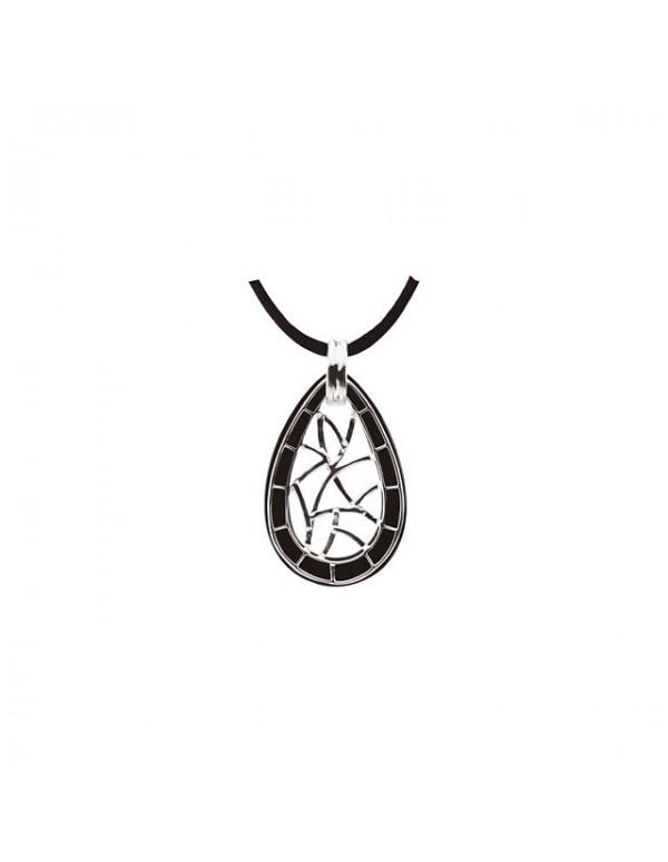 Onyx Lattice Pendant Necklace Back