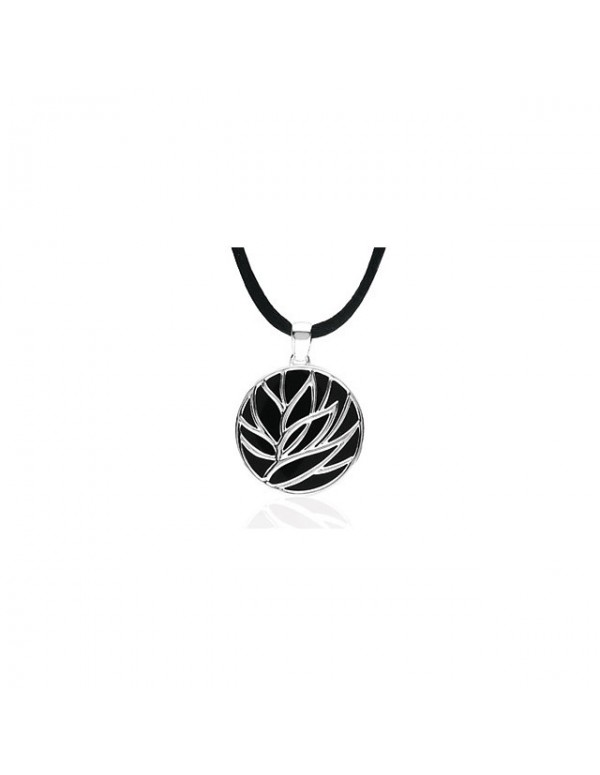 Onyx Lotus Necklace