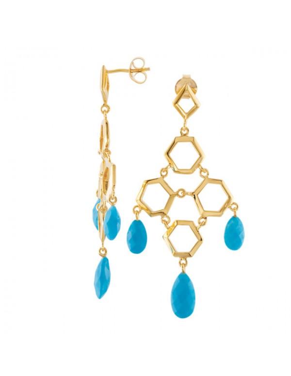Missoma® Checkerboard 18K Vermeil Turquoise Chandelier Earrings