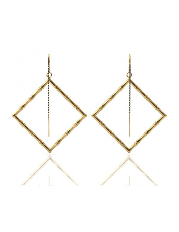 Bamboo 1 Square Earrings in 925 Sterling Silver with Palladium 18K Gold-Plated Back