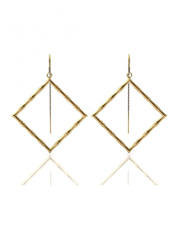 Bamboo 1 Square Earrings in 925 Sterling Silver with Palladium 18K Gold-Plated Front