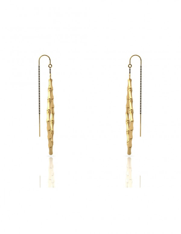 Bamboo 1 Square Earrings in 925 Sterling Silver with Palladium 18K Gold-Plated Side