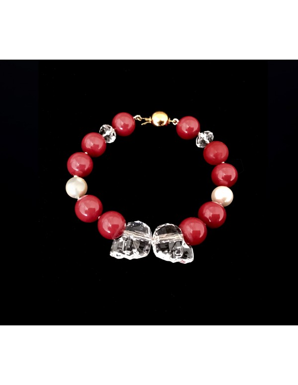 Swarovski Crystal Pearls Bracelet in Red Coral with Skull Beads in Aurore Boreale 1