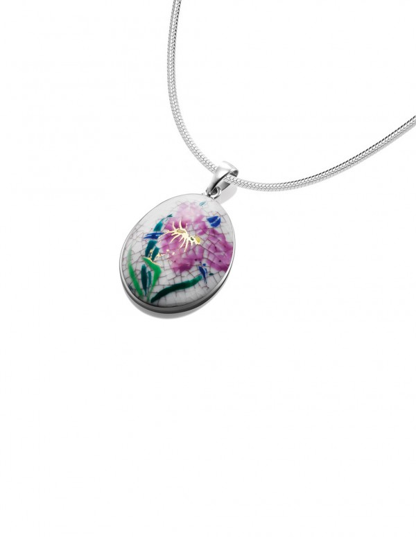 Fine China Porcelain with Purple Flower in Oval Sterling Silver Pendant