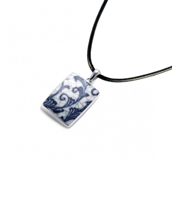Fine China Porcelain in Rectangle Sterling Silver Pendant 2