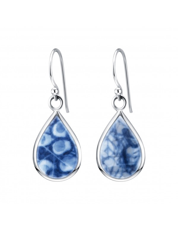 Fine China Porcelain in Teardrop Shape Sterling Silver Earrings