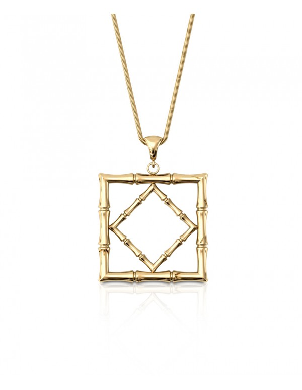 Bamboo 1 Square Pendant in 925 Sterling Silver with Palladium 18K Gold-Plated Front