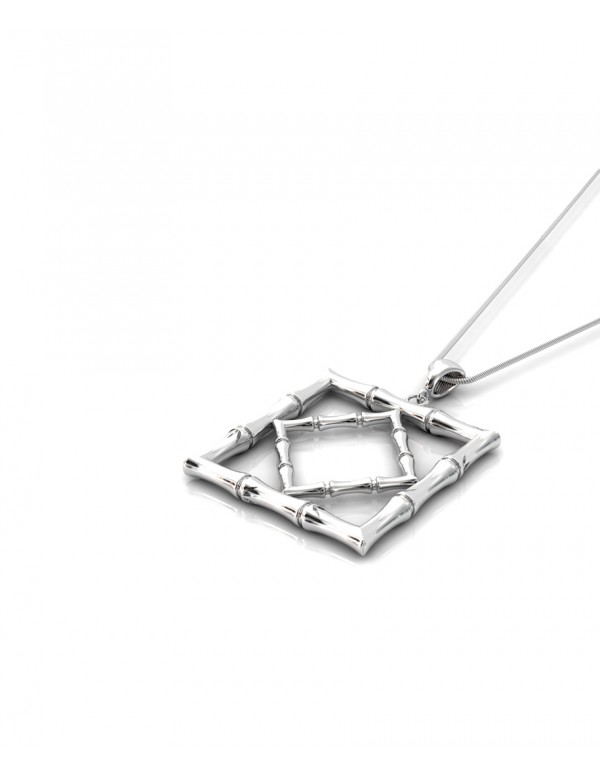 Bamboo 1 Square Pendant in 925 Sterling Silver with Palladium Rhodium-Plated Flat