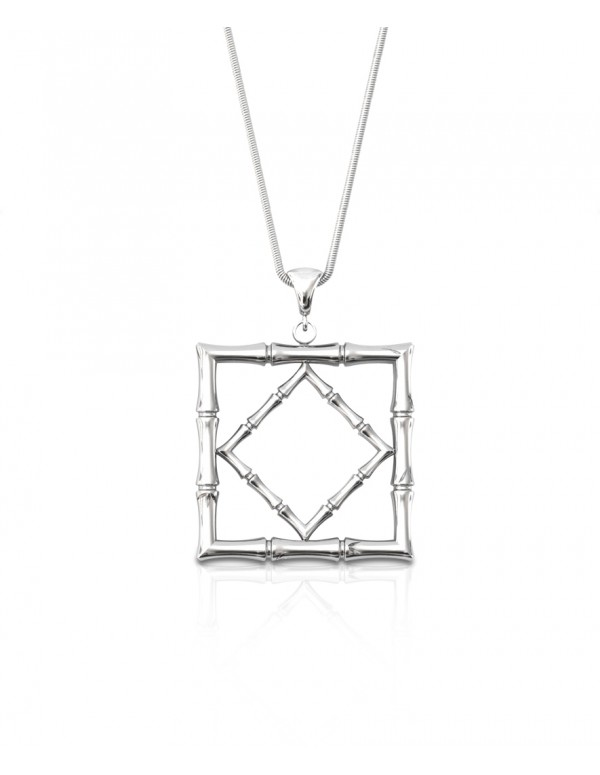Bamboo 1 Square Pendant in 925 Sterling Silver with Palladium Rhodium-Plated Front