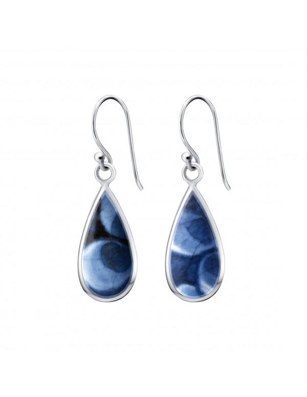 Fine China Porcelain in Teardrop Shape Sterling Silver Earrings 2