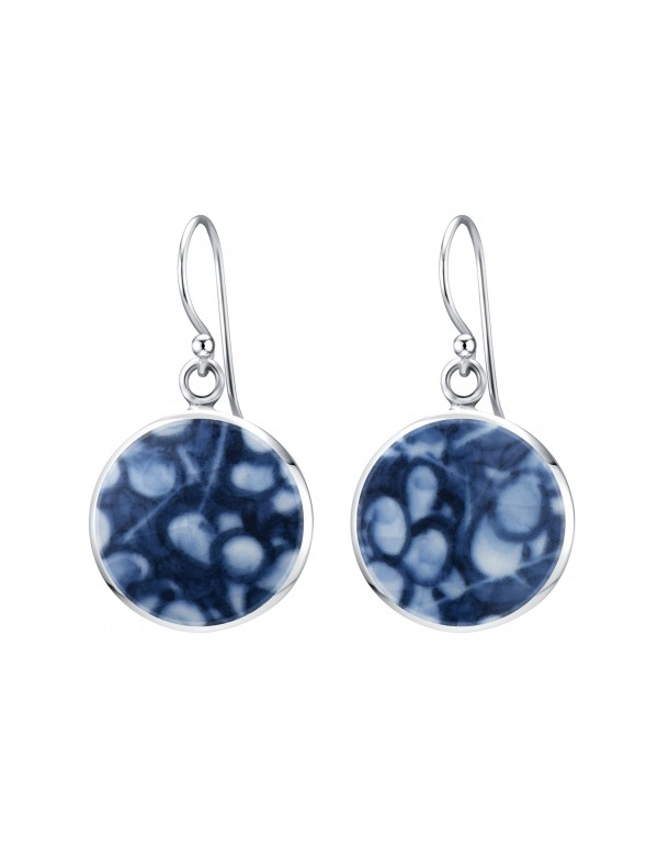 Fine China Porcelain in Round Sterling Silver Earrings