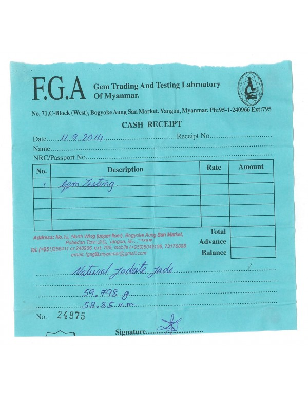 Natural Jadeite Type A-Jade Bangle (JB1013SM) Lab Test Receipt