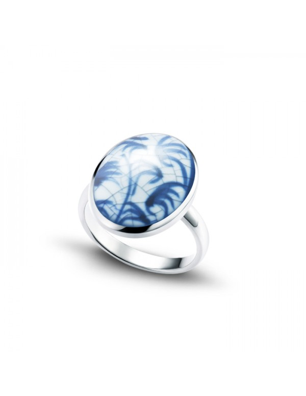 Sterling Silver Ring with Oval Fine China Porcelain 1