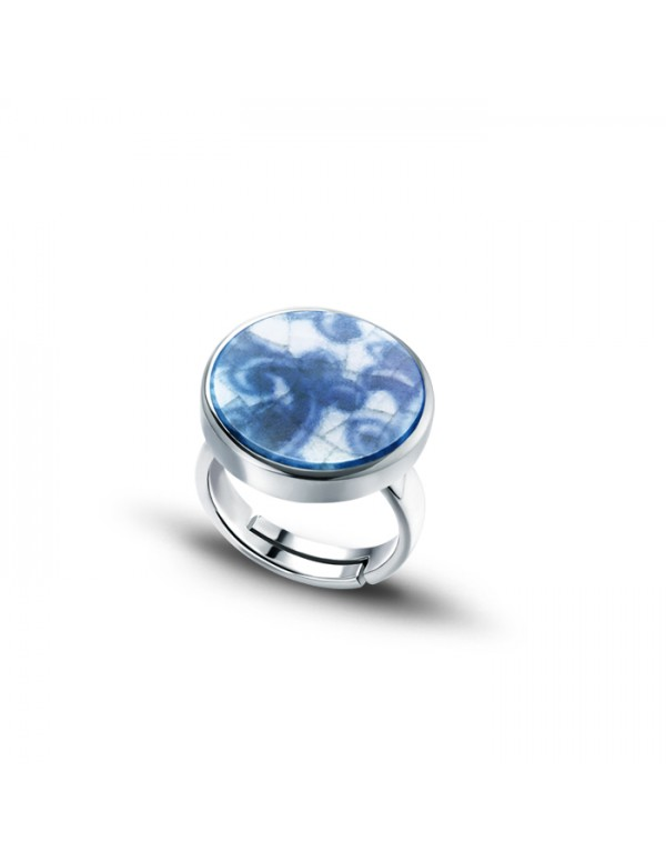 Sterling Silver Ring with Round Fine China Porcelain 2