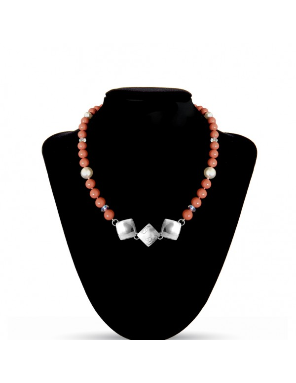 Swarovski Crystal Pearls Necklace in Coral with Sterling Silver Celestial Cloud 3