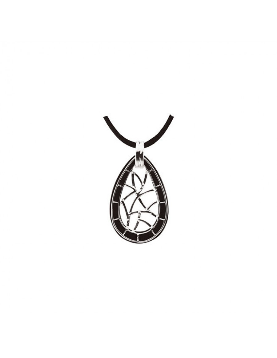Onyx Lattice Pendant Necklace Back