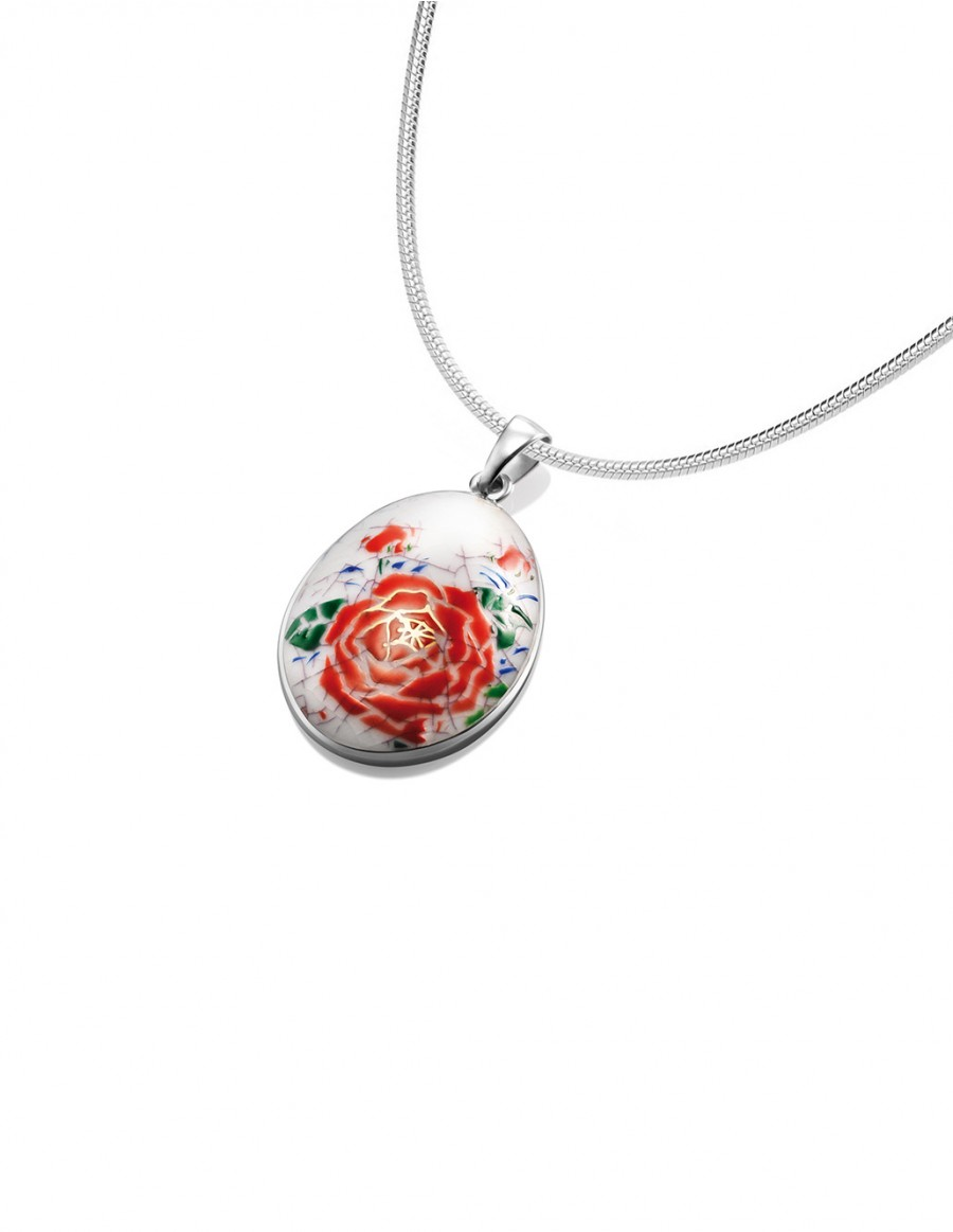 Fine China Porcelain with Red Flower in Oval Sterling Silver Pendant
