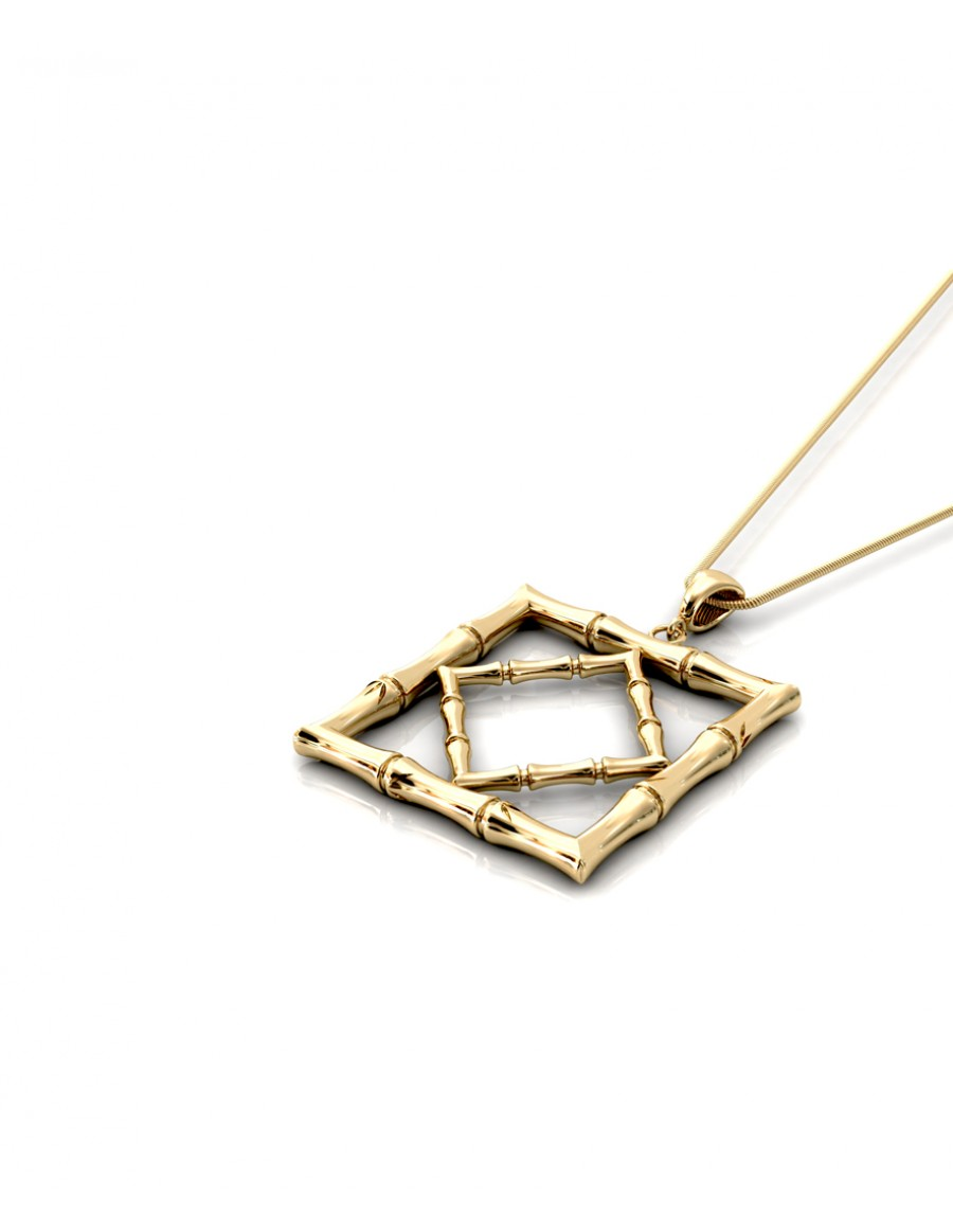 Bamboo 1 Square Pendant in 925 Sterling Silver with Palladium 18K Gold-Plated Flat