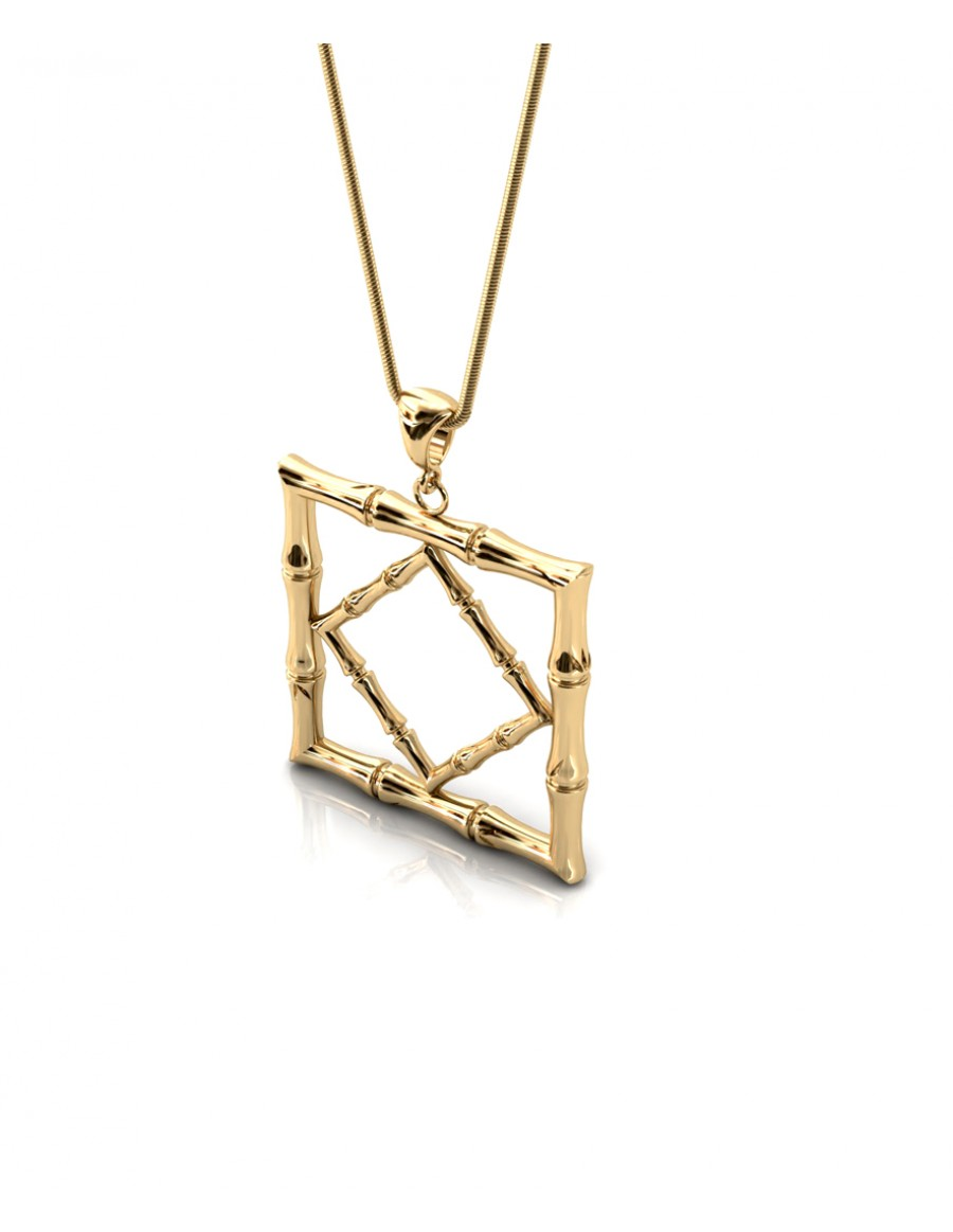 Bamboo 1 Square Pendant in 925 Sterling Silver with Palladium 18K Gold-Plated 3D