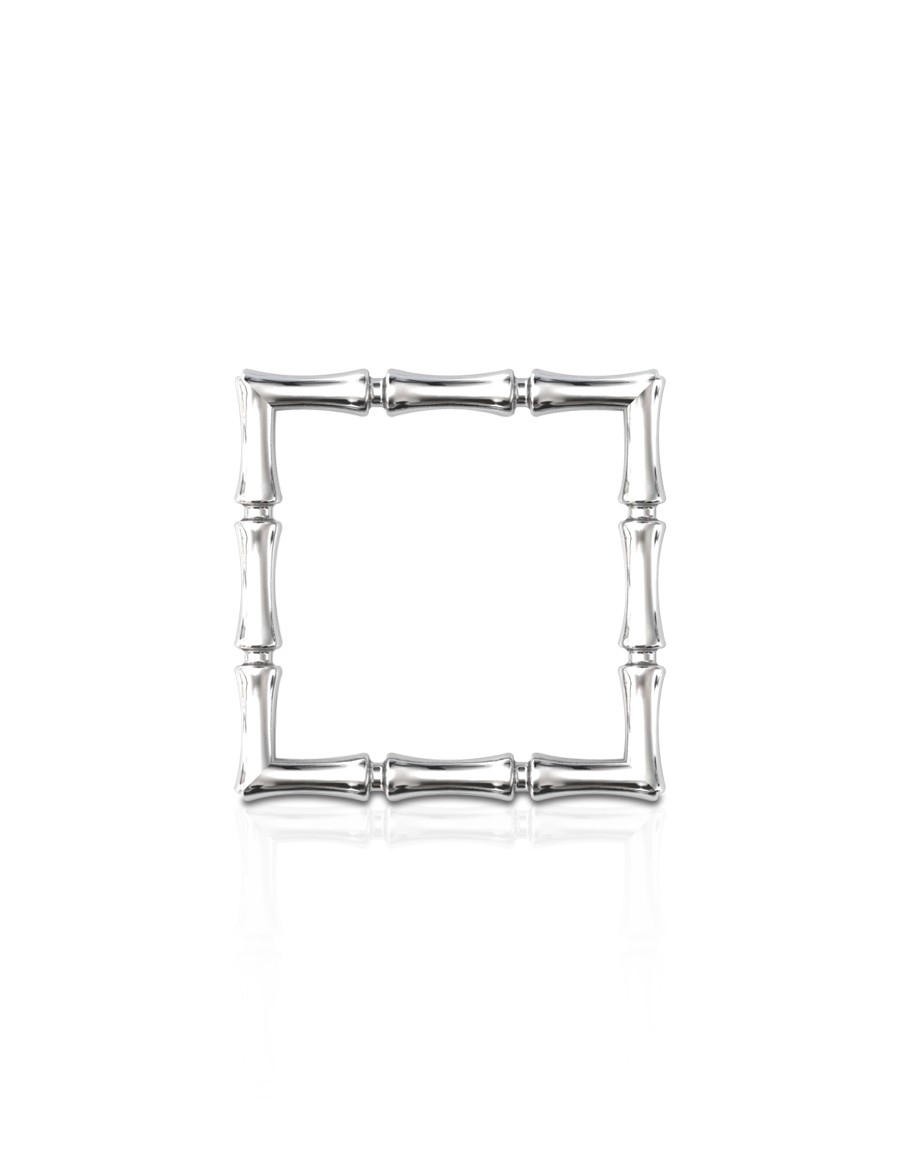 Bamboo 1 Square Ring Slim in 925 Sterling Silver with Palladium Rhodium-Plated