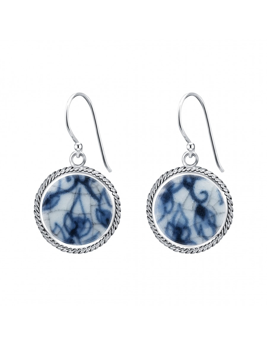 Fine China Porcelain in Round Granulation Frame Sterling Silver Earrings
