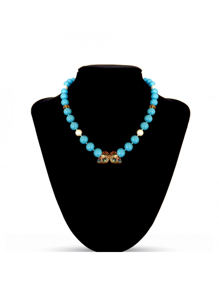 Swarovski Crystal Pearls Necklace in Turquoise with Skull Beads in Rose Gold 2x