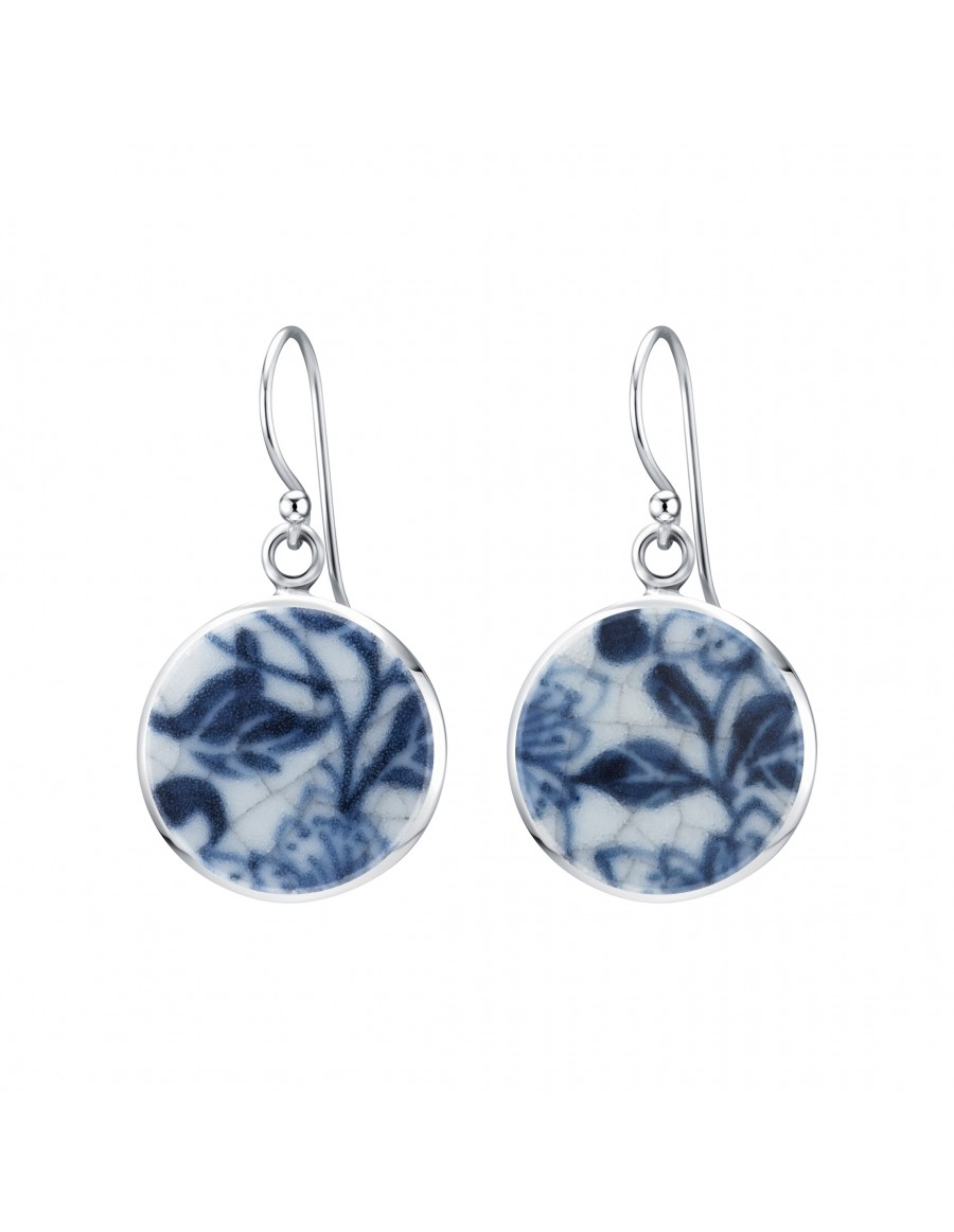 Fine China Porcelain in Round Sterling Silver Earrings 2