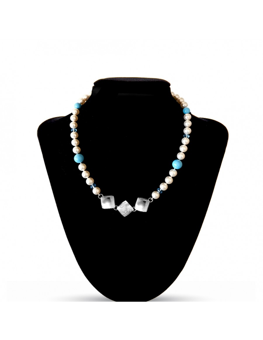 Swarovski Crystal Pearls Necklace in Cream Rose with Sterling Silver Celestial Cloud 3