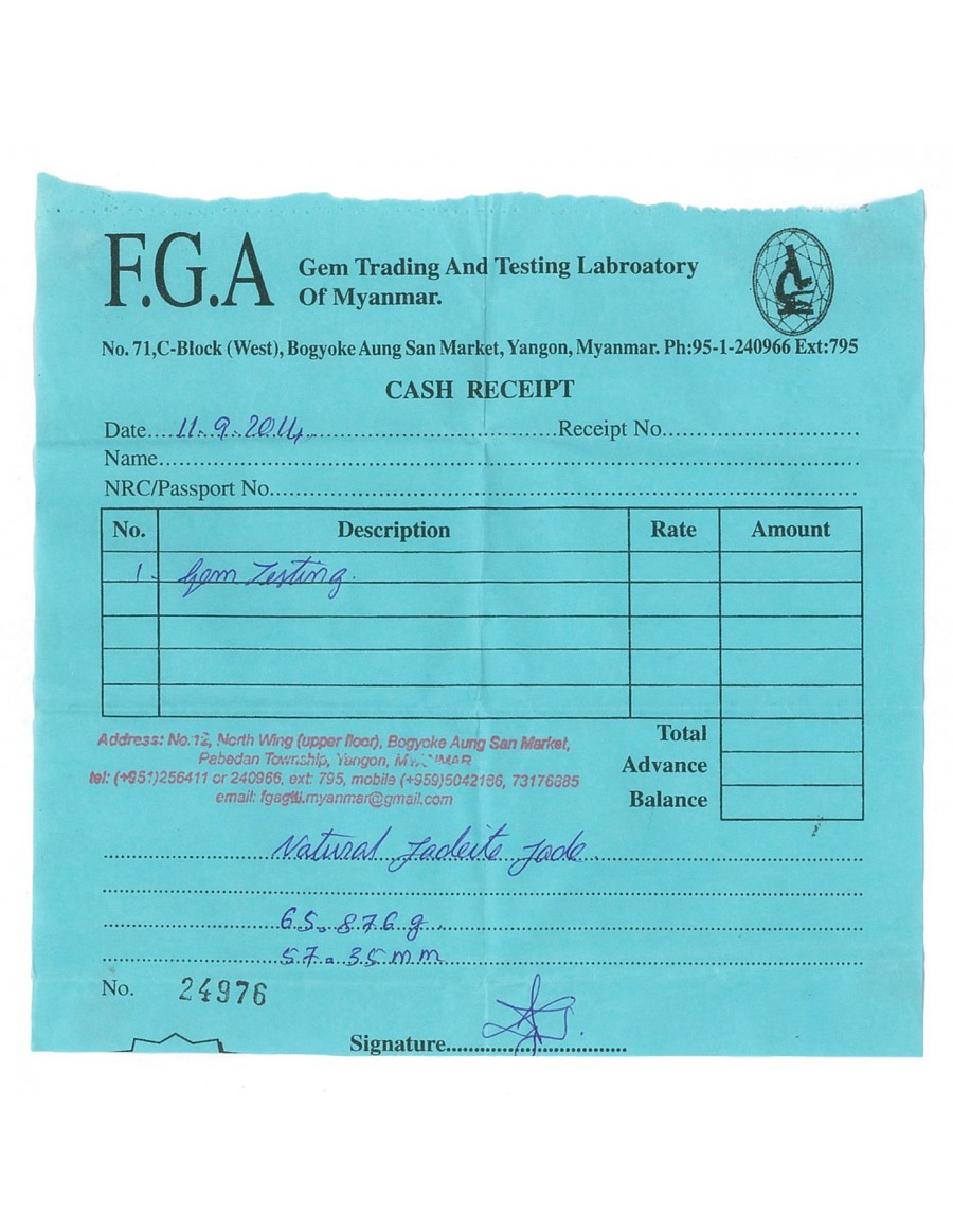 Natural Jadeite Type A-Jade Bangle (JB1012SM) Lab Test Receipt