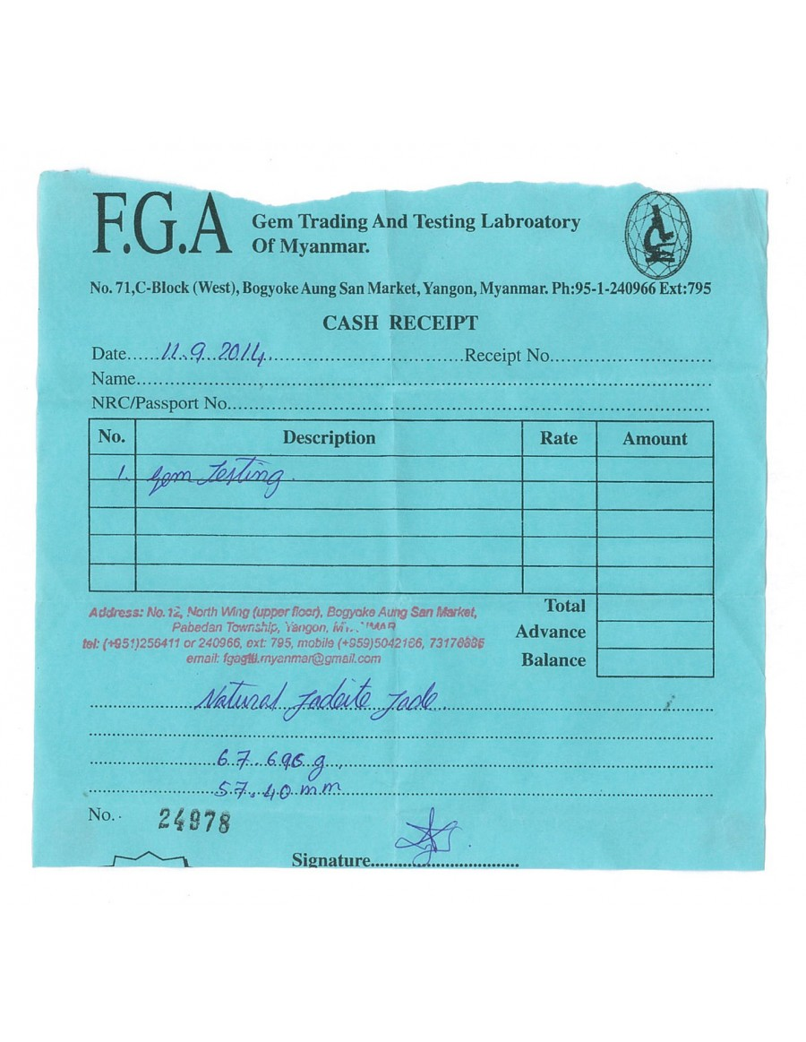 Natural Jadeite Type A-Jade Bangle (JB1011SM) Lab Test Receipt