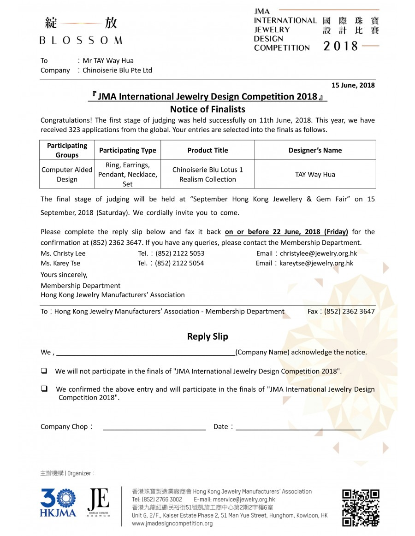JMA International Jewelry Design Competition 2018 - Finalist