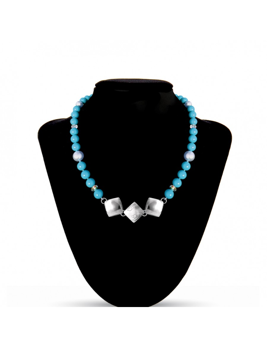 Swarovski Crystal Pearls Necklace in Turqouise with Sterling Silver Celestial Cloud 3