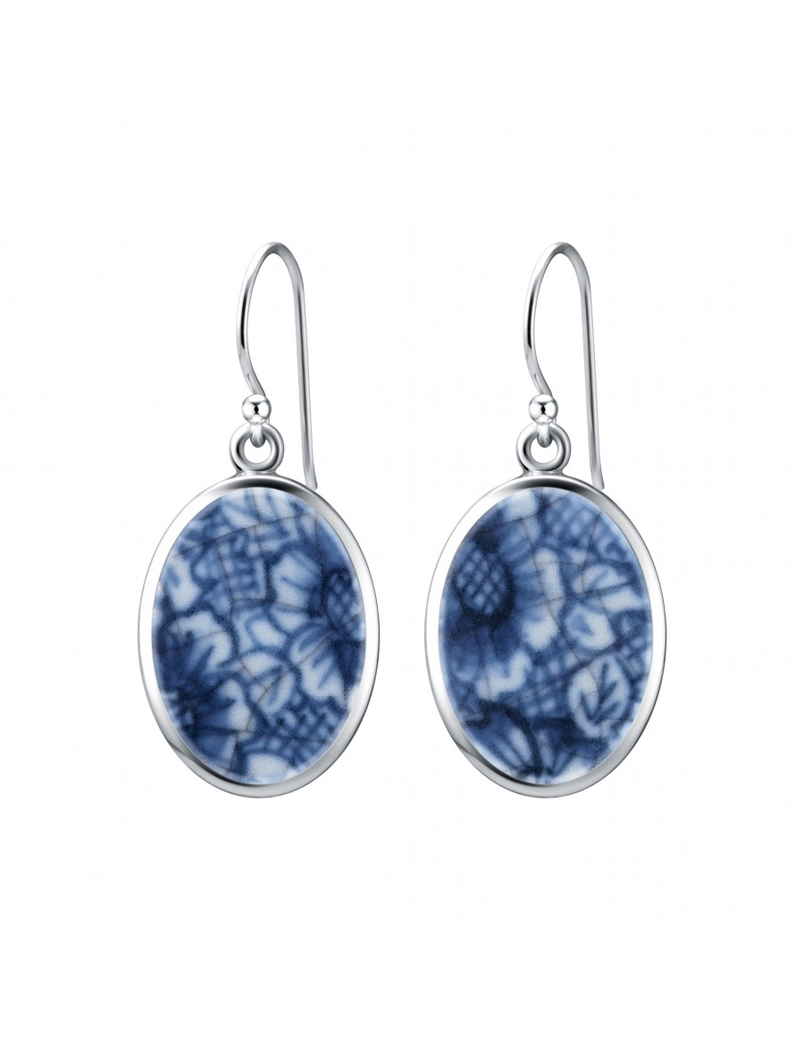 Fine China Porcelain in Oval Sterling Silver Earrings