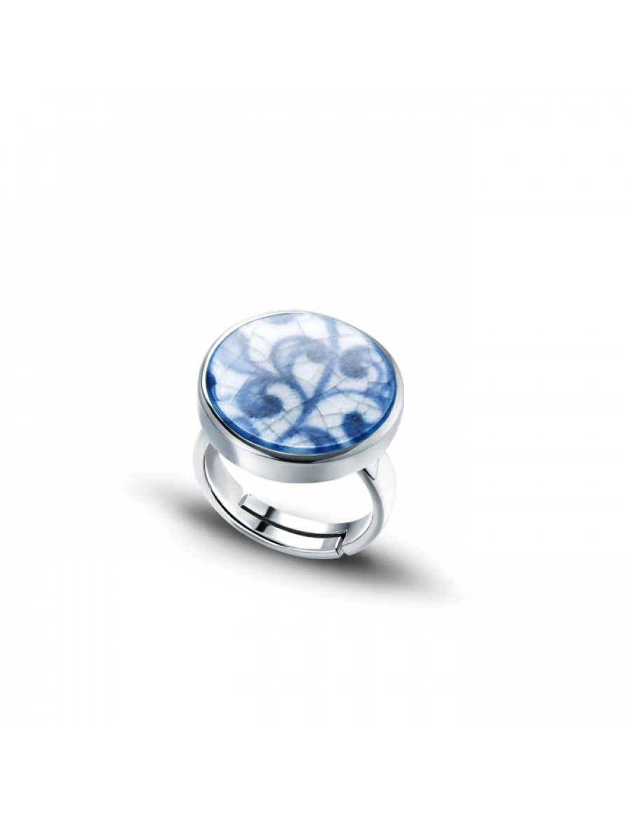 Sterling Silver Ring with Round Fine China Porcelain 1
