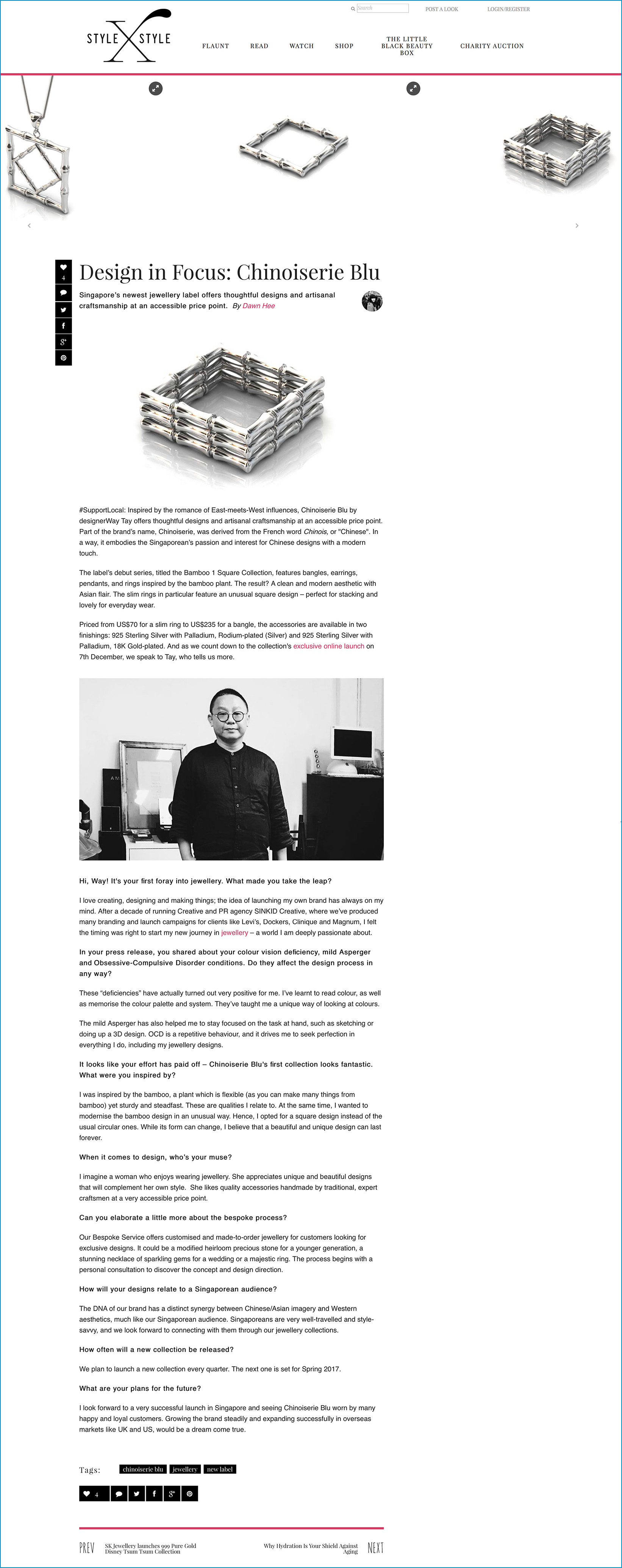 2016.11.23 Chinoiserie Blu styleXstyle.com Online Media Coverage