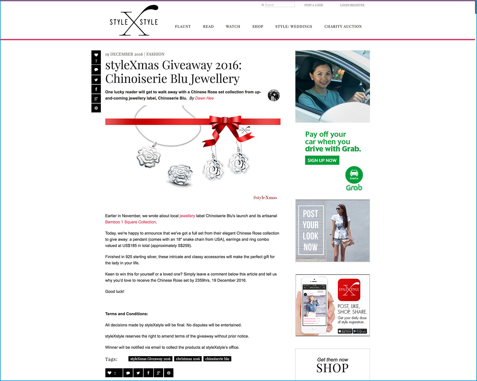 CBLU styleXstyle.com Chinese Rose 12D Christmas Giveaway 2016.12.19