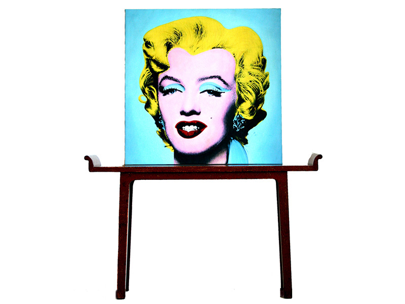 Narrow Table With Recessed Legs With Andy Warhol Marilyn Monroe Pop Art Painting